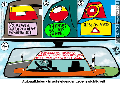 Toyota, Gaspedal, Festklemmen, Bremsversagen, Lebensgefahr, Rueckruf, Aktion, technisches, Versagen, James, Sikes, San Diego, Interstate, Highway, Autoaufkleber, Wiedenroth, Karikatur, cartoon