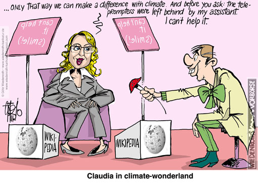 climate, change, Claudia, Kemfert, Wikipedia, citation, Wikipedia, article, privatization, railway, Deutsche Bahn, DIW, Professor, manageress, energy, traffic, plagiarism, Wiedenroth, Germany, caricature, cartoon