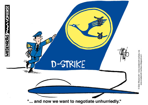 bargaining, wage, salary, negotiation, Lufthansa, pilots, crane, fin, vertical, tail, Emblem, Strike, flight, cancellation, airport, Wiedenroth, Germany, caricature, cartoon