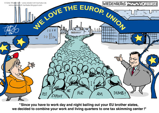 Manuel Barroso, EuropE, Commission, President, EU, Union, Angela Merkel, FEDERAL, chancellor, work, living, combine, GuLAG, KZ, KL, Greece, Bankruptcy, bailout, taxpayer, Wiedenroth, Germany, caricature, cartoon