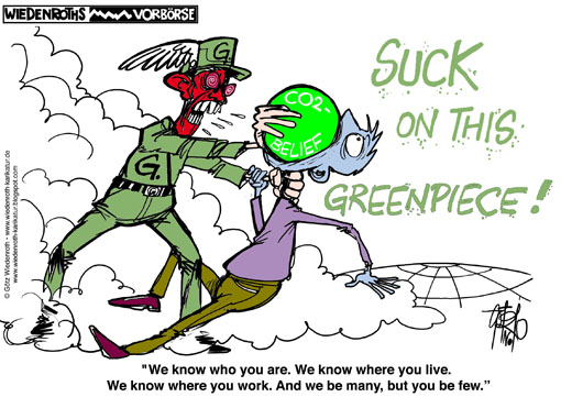 Greenpeace, climate, change, global, warming, greenhouse, effect, eco, fascism, rescue, weblog, Wiedenroth, Germany, caricature, cartoon