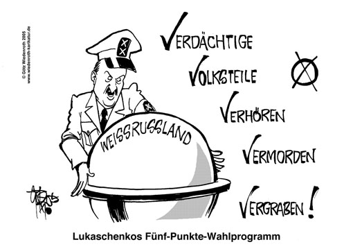 Weissrussland, Wahlen, Lukaschenko, Demokratie, Standards, Minsk, Demonstrationen, Widerstand, Gewalt, Niederknueppeln, Einsperren, Demonstranten, Wiedenroth, Karikatur, cartoon