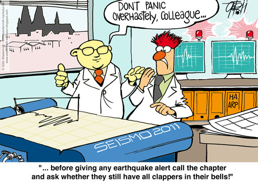 Colgone, Cathedral, bell, clapper, material, fatigue, break, earthquake, gauging, station, Wiedenroth, Karikatur, cartoon