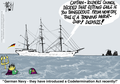 sail, training, ship. German, Navy, deutsche, Marine, Gorch, Fock, accident, casualty, refusal, getting up, taking, sail, mutiny, suspicion, danger, risk, Bundeswehr, Wiedenroth, Karikatur, cartoon