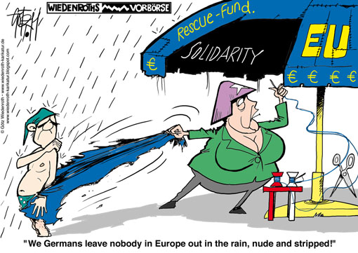 Europe, rescue, fund, Merkel, federal, chancellor, nude, naked, stripped, tax, payer, burden, facility, finance, market, budget, debts, Euro, bonds, bailout, fund, stability, pact, Wiedenroth, Karikatur, cartoon