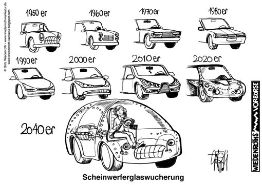 Automobil, Design, Formengebung, Styling, Stylist, Scheinwerfer, Glas, Flaeche, Zunahme, Wachstum, Dominanz, Transparenz, Klarglas, Wiedenroth, Karikatur, cartoon
