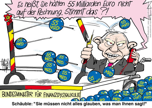 Finanzkrise, Staatsschulden, Bad Bank, FSM WErtmanagement, HRE, Hypo Real Estate, Rechenfehler, Verrechnung, 55 Milliarden, Eklat, Schaeuble, Finanzminister, Bundesminister, Finanzen, Defizit, Groessenordnung, Abakus, Rechenmaschine, Defekt, Dysfunktion Dyskalkulie, Wiedenroth, Karikatur, cartoon