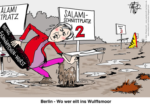 Gratisurlaub, Gratisflug, Privatjet, Duerr, Eventmanager, Schmidt, Anfrage, Parlament, Salamitaktik, Klaus Wowereit, Regierender, Buergermeister, Berlin, Affaere, Verdacht, Geschmaeckle, Wulff, Fall, Parallele, Bundespraesident, Wiedenroth, Karikatur, cartoon