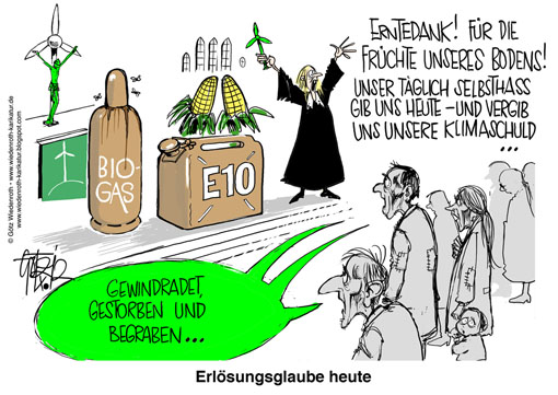 Gottesdienst, Liturgie, Kirche, Erntedankfest, Antependium, gruen, Pastor, Pastorin, Talar, WKA, Windrad, Windenergie, wind turbine, WindEnergy, Kanister, Biogas, Gasflasche, Maiskolben, Ernte, Hunger, Kruzifix, Christus, Erloesung, Selbsthass, Klimaschuld, Armut, Not, Ersatzreligion, Religion, Kasteiung, Flagellantentum, Wiedenroth, Karikatur, caricature, cartoon, Germany, Allemagne