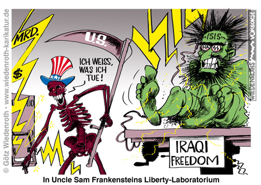 USA; Irak; ISIS; ISIL; IS. Terror; Islam; Korantreue; Finanzierung; Waffenlieferung; Konflikt; Syrien; Ausruestung; Frankenstein; Shelley; Monster; Experiment; Wissenschaft; Planung; Hoffart; Hybris, Wiedenroth, Karikatur, cartoon, Germany; Allemagne