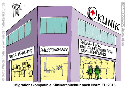 Krankenhaus; Klinik; Gewalt; Migranten; Immigration; Familienclan; Zerstoerung; Bedrohung; Noetigung; Blutrache; Hameln; Schlaegerei; Neuss; Celle; Berlin; Suedlaender; Messer; Verletzung, Wiedenroth, Karikatur; cartoon; Germany; Allemagne