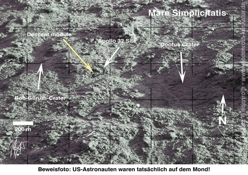 Mondlandung; moon hoax; Schwindel; deception; vindicator; moon landing; beweis; beweisfoto; NASA; Mondoberflaeche; Geschichtsfaelschung; Geschichtsluege; gefaelscht; Faelschung; forgery; Apollo; Programm; USA; Bob Gilruth; Doofus Crater; descent module; mare simplicitatis, Wiedenroth; Karikatur; cartoon; Germany; Allemagne