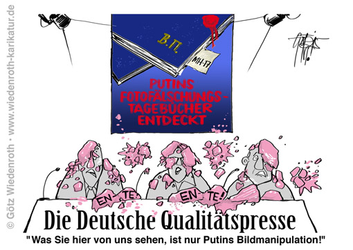 Qualitaetspresse; Luegenpresse; Luegenmedien; Qualitaetsmedien; Belligngcat; Luftaufnahmen; Russland; Ukraine; Vorwurf; Fotomanipulation; Bildmanipulation; Propaganda; Hetze; Ideologie; Eifer; Gier; Journalismus; Medien; Sorgfalt; Ente; Zeitungsente; Stern; Hitler; Tagebuecher; Heidemann; Kujau; Putin, Wiedenroth; Karikatur; cartoon; Germany; Allemagne