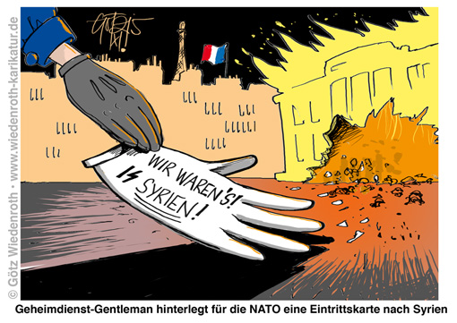 Immigration; Asyl; Islam; Terror; Paris; Anschlag; ISIS; Geheimdienst; Filiale; CIA; Mossad; USA; Israel; Syrien; Nato; Buendnisfall; EU; Europa; Frankreich; Terrormanagement; Attentat; Ablenkung; Wiedenroth; Karikatur; cartoon; Germany; Allemagne