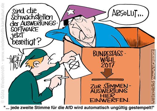 Bundestag; Wahl; Wahlsoftware; Manipulation; Manipulierbarkeit; Ergebnis; Auswertung; Software; PC-Wahl; Hacker; CCC; Schwachstellen; Luecken; Warnung; Merkel; Waehler; Wahlurne; Wahlfaelschung; Wahlerlass; Wahlinfrastruktur; Bundesland; softwaregestuetzt; AfD; Stimmen; Stimmenklau; Betrug; Taeuschung; IT-Sicherheit; Mangel; Karikatur; 2017; cartoon; Germany; Allemagne